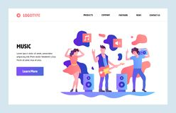 Vector web site linear art design template. Music band playing rock and dancing. Landing page concepts for website and stock illustration