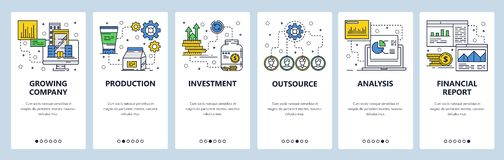 Vector web site linear art onboarding screens template. Business and money investment. Financial report and charts. Menu stock illustration