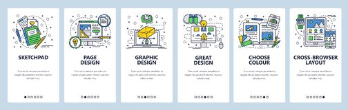 Vector web site linear art onboarding screens template. Computer graphic design and digital art. Menu banners for. Website and mobile app development. Modern royalty free illustration