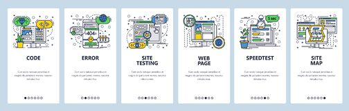 Vector web site linear art onboarding screens template. Web development, coding and testing, sitemap, speed test. Menu. Banners for website and mobile app royalty free illustration