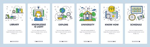 Vector web site linear art onboarding screens template. Education and knowledge. University college building, library. Books. Menu banners for website and royalty free illustration