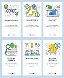 Vector web site linear art onboarding screens template. Exploration, navigation and market research icons. Menu banners royalty free illustration