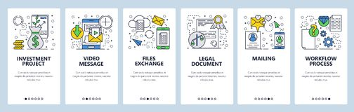 Vector web site linear art onboarding screens template. Files exchange and video messageing. Business workflow stock illustration