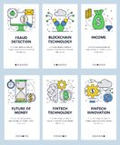 Vector web site linear art onboarding screens template. Fintech innovations and blockchain technologies. Finance fraud. Detection and future of the money. Menu stock illustration