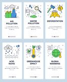 Vector web site linear art onboarding screens template. Global warming and industrial pollution. Ecology problems. Menu royalty free illustration