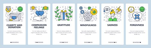 Vector web site linear art onboarding screens template. Human fellings, sadness, mindfulness, forgivness. Menu banners. For website and mobile app development vector illustration