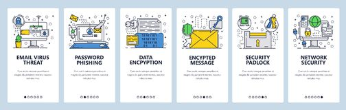 Vector web site linear art onboarding screens template. Internet cyber security and email scam. Virus protection and. Data encryption. Menu banners for website royalty free illustration