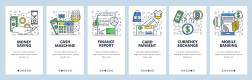 Vector web site linear art onboarding screens template. Mobile banking, credit card payment and curency exchange. Menu. Banners for website and mobile app stock illustration
