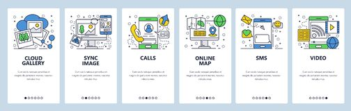Vector web site linear art onboarding screens template. Mobile phone online services, cloud sync, calls, navigation map stock illustration