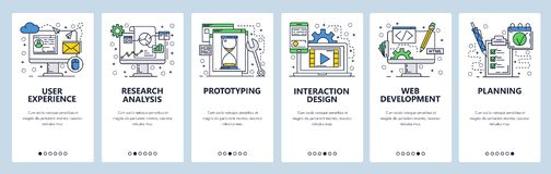 Vector web site linear art onboarding screens template. User experience, prototyping and web development. Menu banners. For website and mobile app development stock illustration
