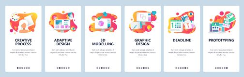 Vector web site onboarding screens gradient template. Graphic design, prototyping, creative artist and 3d modelling. Menu banners for website and mobile app stock illustration