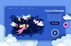 Vector web site paper art design template. Child touching the stars in the sky. Kids dream. Landing page illustration. Concepts for website and mobile vector illustration