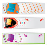 Vector Web2 website banner set with laptop Stock Photo