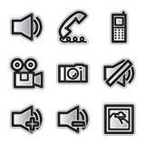 Vector Webpictogrammen, zilveren contourmedia Stock Foto