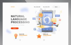 Natural Language Processing Template. Vector website header template of voice assistance, natural language processing or voice technology