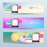 Vector website headers, smart phone promotion banners Stock Photography
