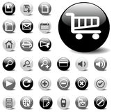 Vector website icon set in black, gray, & white Royalty Free Stock Images