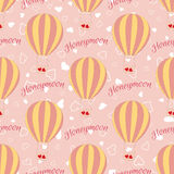 Vector wedding balloon with red hearts seamless pattern. Stock Image