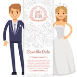 Vector wedding banner template. Decorative flyer with bride, fiance and floral ornament Royalty Free Stock Photo