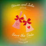 Vector wedding bells with hearts and bow over colorful blurred background. Stock Photo