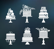 Vector wedding, birthday flower cakes set Stock Photos