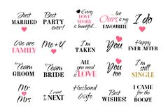 Vector wedding caligraphy typography collection marriage set royalty free illustration