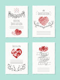 Vector wedding card with drawn heart Stock Photography