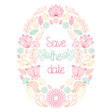 Vector wedding card in floral frame and text save the date. Stock Photos
