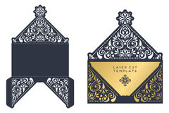 Vector wedding card laser cut template Royalty Free Stock Photo