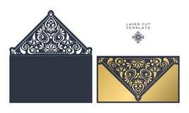 Vector wedding card laser cut template royalty free illustration