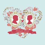 Vector Wedding Card. Ornamental heart. Flowers Stock Photography