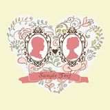 Vector Wedding Card. Ornamental heart. Flowers Royalty Free Stock Photography