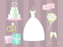 Vector wedding clip art. Various vectors of wedding clip art. Background and objects are on separate layers Royalty Free Stock Photo