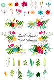Vector Vintage Flowers and Leaves Clip Art Royalty Free Stock Image