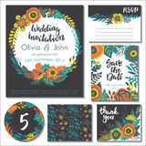 Vector wedding collection. Templates for invitation, thank you card, save the date, RSVP Royalty Free Stock Images