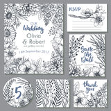 Vector wedding collection. Templates for invitation, thank you card, save the date, RSVP Royalty Free Stock Image