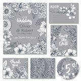Vector wedding collection. Templates for invitation, thank you card, save the date, RSVP Stock Photography