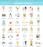 Vector wedding color flat icon set. Elegant style design. Stock Images