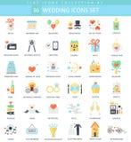 Vector wedding color flat icon set. Elegant style design. Vector wedding color flat icon set. Elegant style design Stock Images