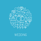 Vector wedding emblem in outline style Royalty Free Stock Photos