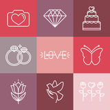 Vector wedding and engagement line logos and icons Royalty Free Stock Images
