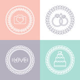 Vector wedding and engagement line logos Stock Photo