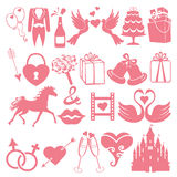 Vector Wedding flat  icons set for Web and Mobile Royalty Free Stock Image