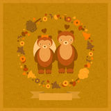 Vector wedding funny card with bears. Vector wedding amusing card with bears and decorative round floral frame Royalty Free Stock Image