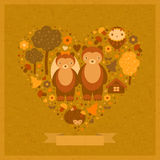 Vector wedding funny card with bears. Vector wedding card with bears in an image of heart Royalty Free Stock Image