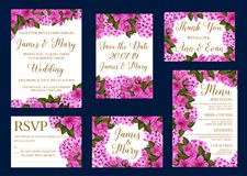Vector wedding greeting cards of flowers. Wedding greeting cards for Save the Date and RSVP or engagement party invitation design. Vector blooming flowers violet stock illustration