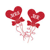 Vector wedding hearts MR and MRS on a stick