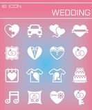 Vector Wedding icon set. On rose background Stock Photo