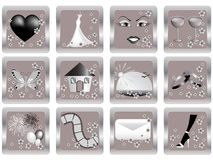 Vector wedding icons Stock Photography