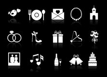 Vector wedding icons on a black background Stock Photo